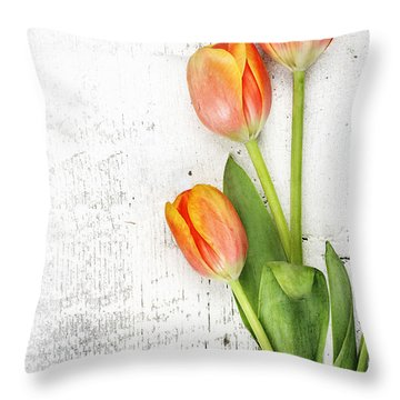 Orange Tulips Throw Pillow