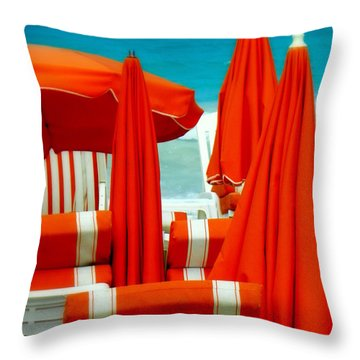 Orange Umbrellas Throw Pillow