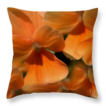Throw Pillow featuring the photograph Orange Violas by Erica Hanel