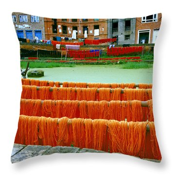 Orange Yarn Throw Pillow