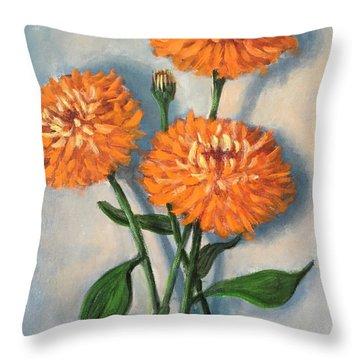 Orange Zinnias Throw Pillow by Randy Burns