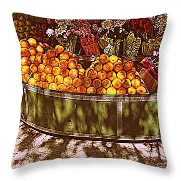 Throw Pillow featuring the photograph Oranges And Flowers by Miriam Danar
