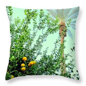 Oranges And Palm Trees Throw Pillow