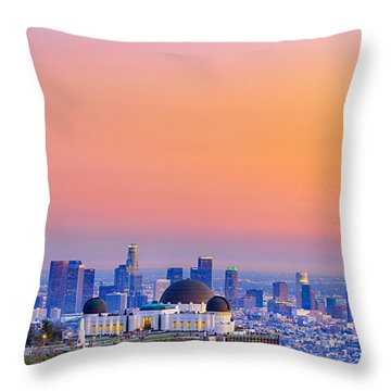 Orangesicle Griffith Observatory Throw Pillow
