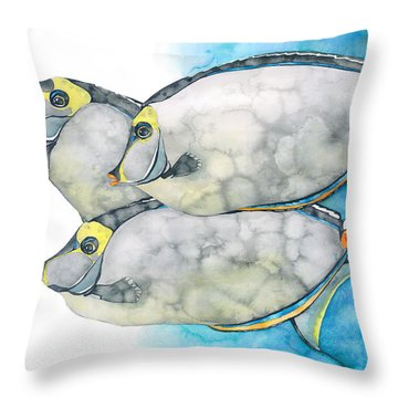 Orangespine Unicornfish Throw Pillow