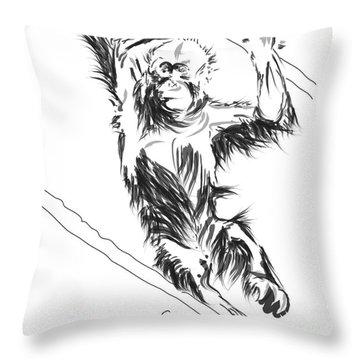 Orangutan 3 Throw Pillow