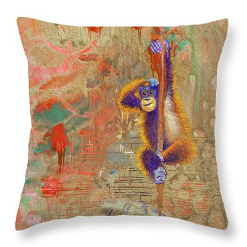 Orangutan Abstract Throw Pillow by Tracy L Teeter