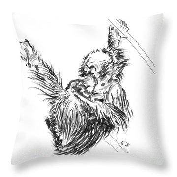 Orangutan Baby 2 Throw Pillow