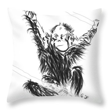 Throw Pillow featuring the painting Orangutan Baby by Go Van Kampen