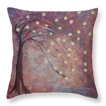 Throw Pillow featuring the painting Orb Oak by Denise Tomasura