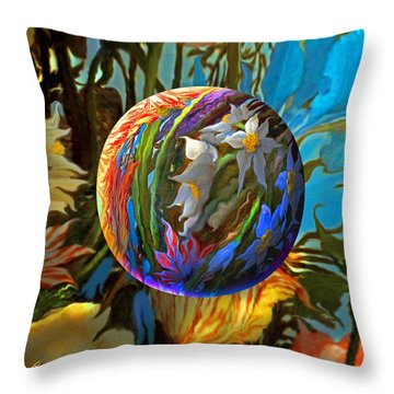 Orbing Aloha Lei Throw Pillow