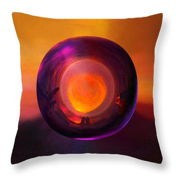 Throw Pillow featuring the painting Orbing An Evening Sunset by Robin Moline