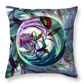 Orbiting Cranberry Dreams Throw Pillow by Robin Moline