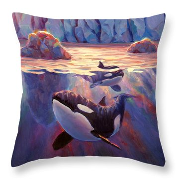 Orca Sunrise At The Glacier Throw Pillow