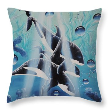 Throw Pillow featuring the painting Orcan Family by Dianna Lewis