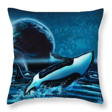 Orcas At Night Throw Pillow