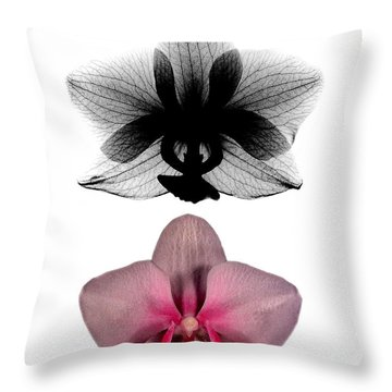 Orchid And Its X-ray Throw Pillow by Bert Myers