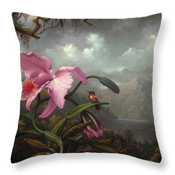 Orchid And Hummingbir Throw Pillow