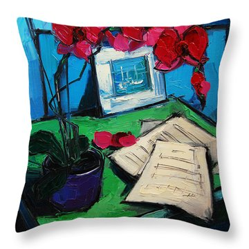 Orchid And Piano Sheets Throw Pillow by Mona Edulesco