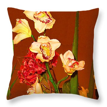 Throw Pillow featuring the photograph Orchid Arrangement by Merton Allen
