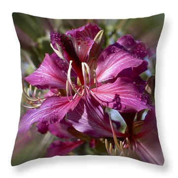 Throw Pillow featuring the photograph Orchid Blur by Penny Lisowski
