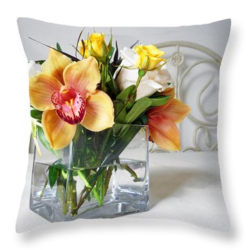 Orchid Bouquet Throw Pillow