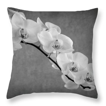 Orchid Bw Throw Pillow by Hannes Cmarits