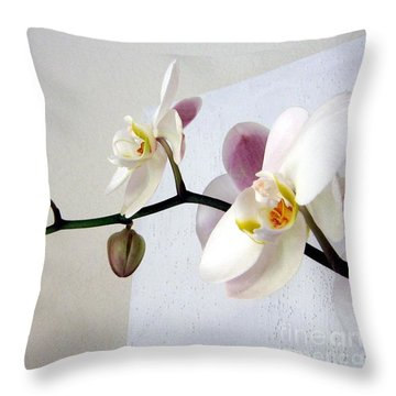 Orchid Coming Out Of Painting Throw Pillow
