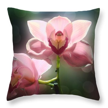 Orchid Glow Throw Pillow by Kathleen Holley