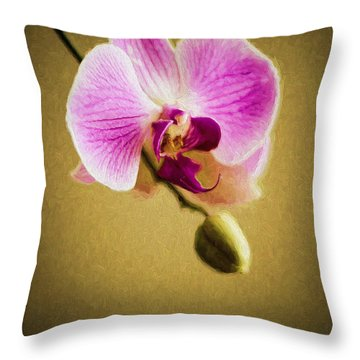 Orchid In Digital Oil Throw Pillow