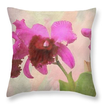 Orchid In Hot Pink Throw Pillow