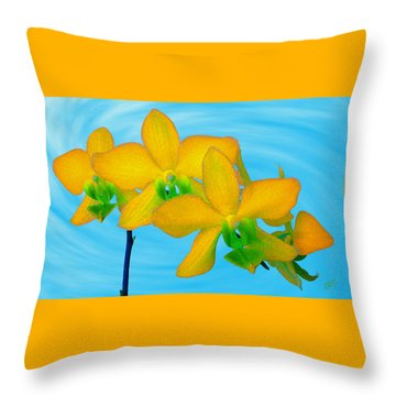 Orchid In Yellow Throw Pillow