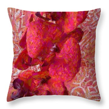 Orchid On Fabric Throw Pillow by Barbie Corbett-Newmin