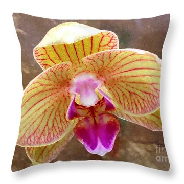 Orchid On Marble Throw Pillow by Barbie Corbett-Newmin