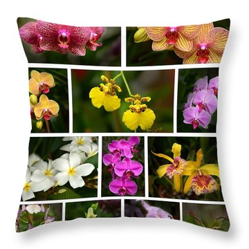 Orchid Sampler Throw Pillow
