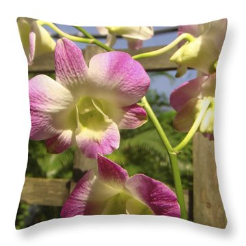 Throw Pillow featuring the photograph Orchid Splendor by Karen Zuk Rosenblatt