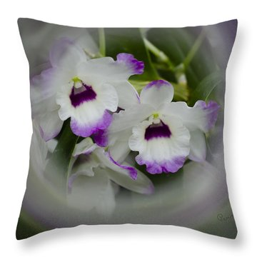 Orchid Wine Swirl Throw Pillow by Penny Lisowski