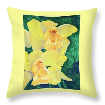 Orchid Yellow Throw Pillow