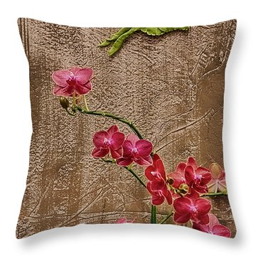 Orchids And Butterfly Throw Pillow by John Haldane