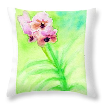 Throw Pillow featuring the painting Orchids by C Sitton