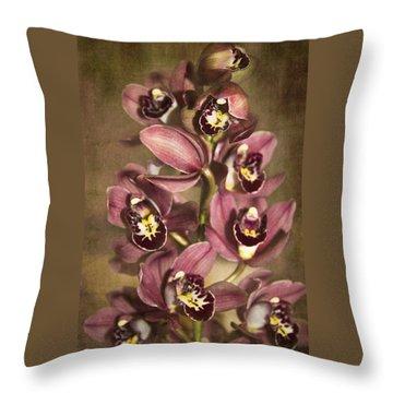 Orchids - Cymbidium  Throw Pillow by Kerri Ligatich