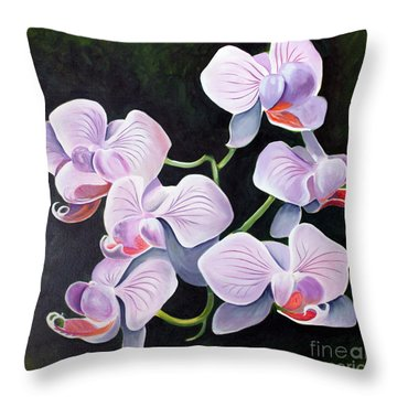 Orchids II Throw Pillow by Debbie Hart