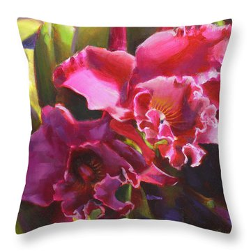Orchids In Magenta Throw Pillow
