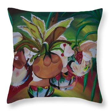Throw Pillow featuring the painting Orchids In Raindrop Reflections by Sharon Duguay