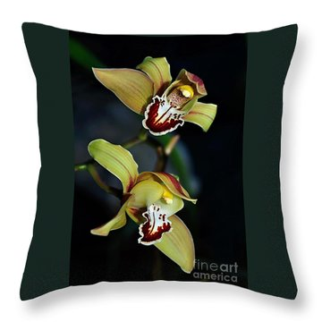 Orchids In The Evening Throw Pillow