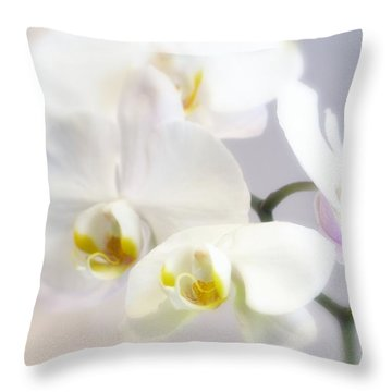 Orchids In The Mist Throw Pillow