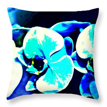 Throw Pillow featuring the mixed media Orchids Of Ranetta by Michelle Dallocchio