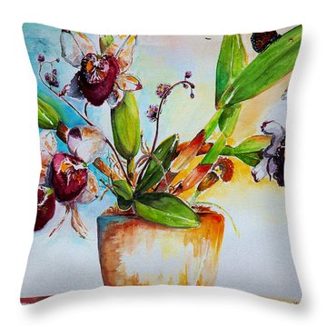 Throw Pillow featuring the painting Orchids Of The Bay by Bernadette Krupa