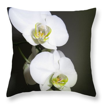 Orchids On Gray Throw Pillow