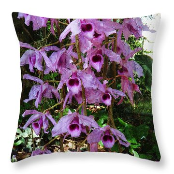 Orchids In The Spring Throw Pillow